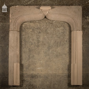 19th C Sandstone Fireplace Insert With Curved Ornate Detail