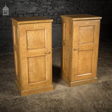 Pair of NARC Studio Scumble Glazed 'Ebenezer Bedside Cabinets' Built From Pew Components Dated 1868