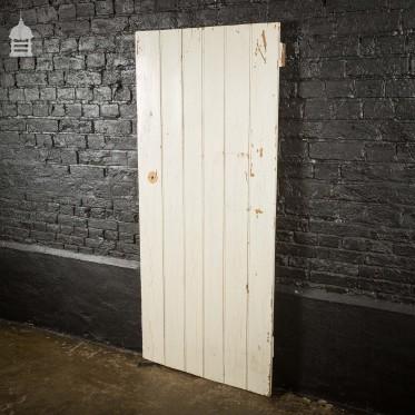 Georgian White Painted Pine Beadboard Ledged and Braced Internal Cottage Door