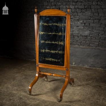 Circa 1810 Inlaid Mahogany Regency Cheval Mirror with Turned Finials