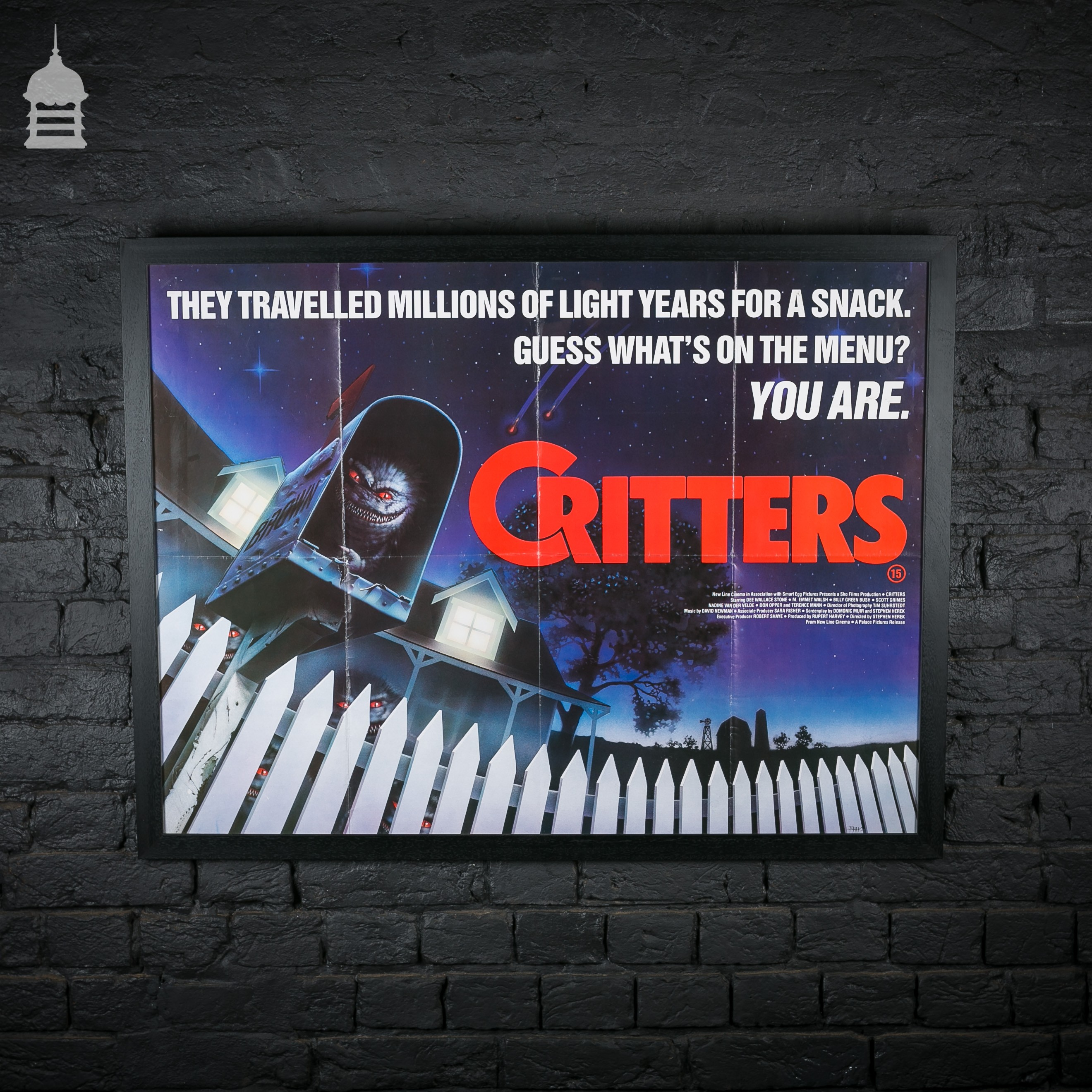 original framed �critters� quad movie poster