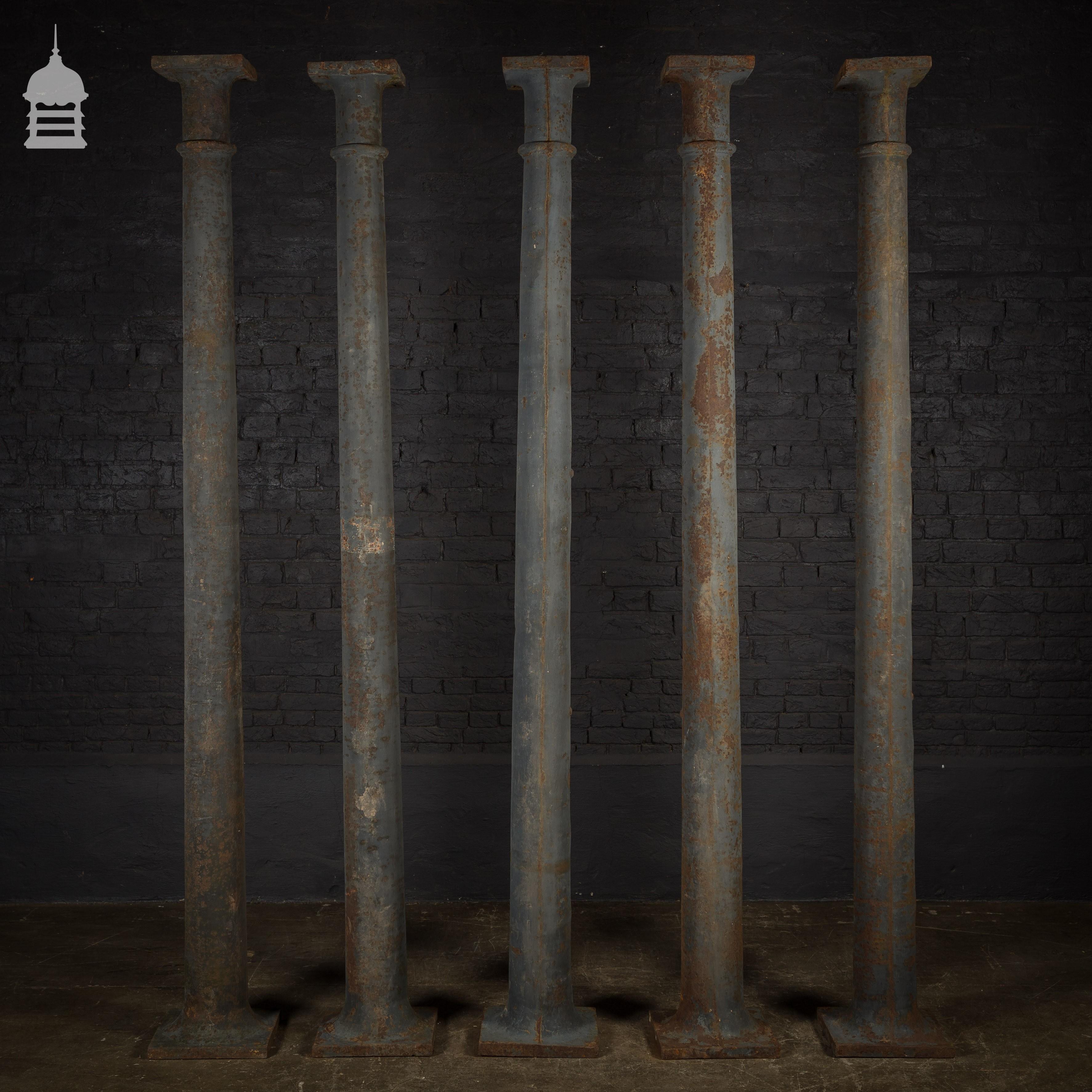 Set Of 5 19th C Industrial Cast Iron Columns Pillars Stanchions