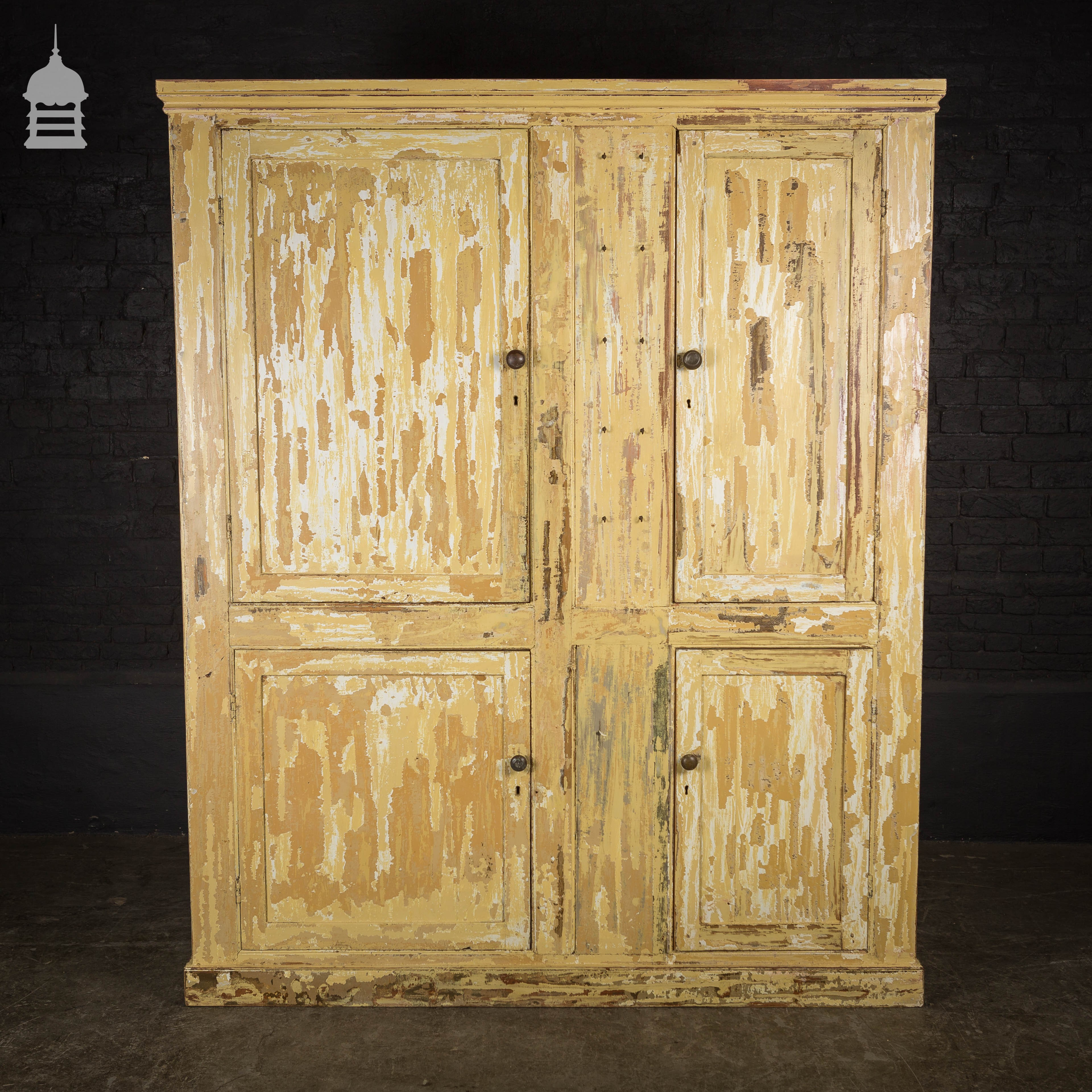 19th C Pine Pantry Cupboard With Distressed Paint And Key Hooks