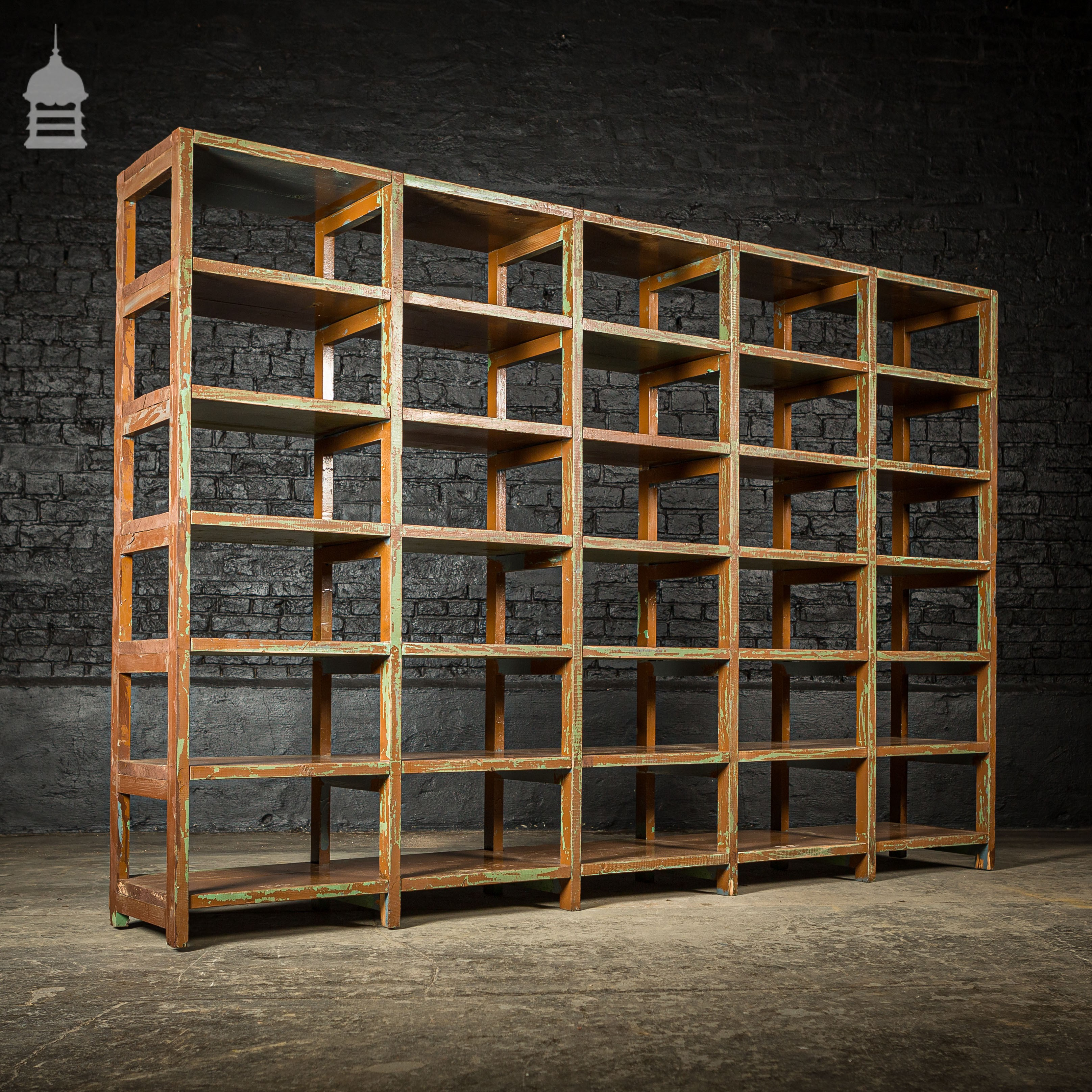Large Early 20th C Industrial Shelving Unit with Numbered Shelves ...