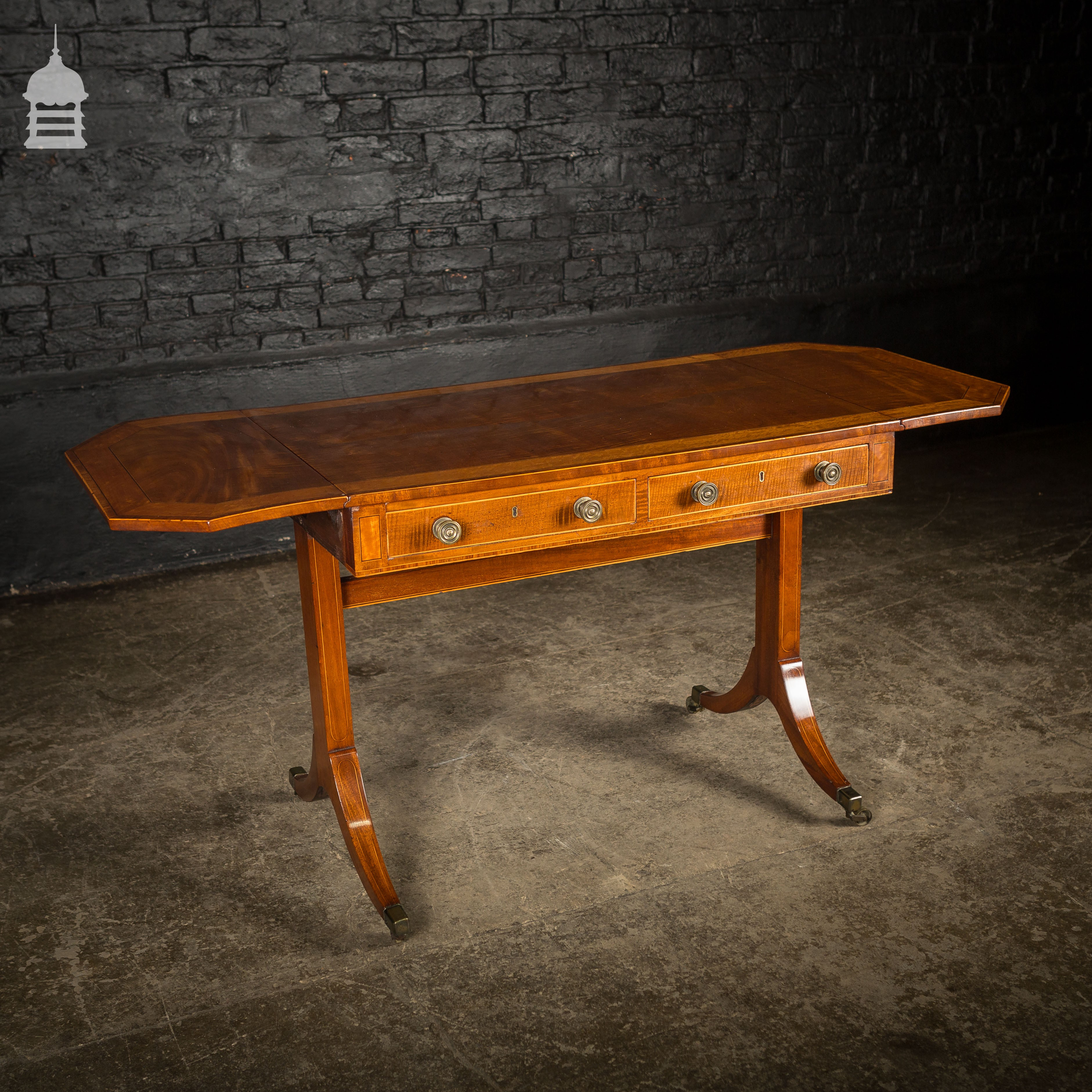 Excellent 18Th C Satinwood Folding Sofa Table With Inlaid Banding And Brass Castors Ncnpc Chair Design For Home Ncnpcorg