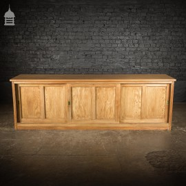 Large 19th C Pitch Pine Sideboard with 3 Sliding doors Salvaged from The Ebenezer Chapel in Wales