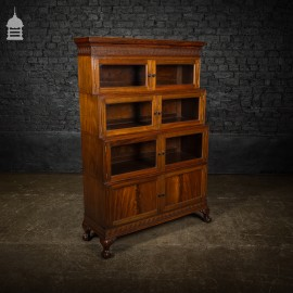Late 19th C Stackable Glazed Mahogany Display Bookcase on Claw Feet