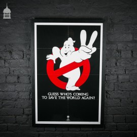 Original 'GHOSTBUSTERS II' Movie Quad Poster in Black Frame