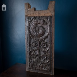 16th C Small Carved Oak Panel of Mythical Beast