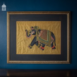 Vintage Framed Elephant on Silk