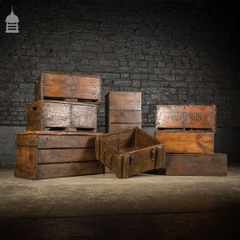 Batch of 9 Waxed Vintage Wooden Crate Display Boxes