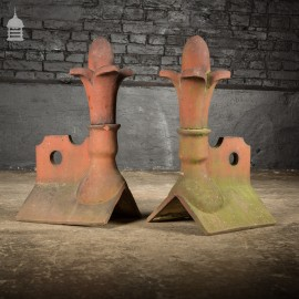 Pair of 19th C Terracotta Decorative Ridge Tile End Finials