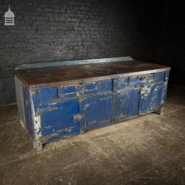 Large Blue Metal Industrial Factory Utility Workbench with Cupboards