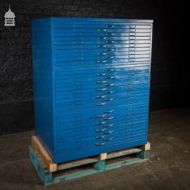 Vintage Blue Steel Industrial Plans Chest Drawers