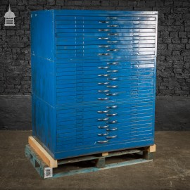 Vintage Steel Industrial Blue Painted Plans Chest Drawers