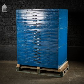 Vintage Steel Industrial Blue Machinists Plans Chest Drawers