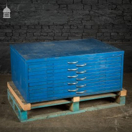 Small Vintage Steel Industrial Blue Painted Plans Chest Drawers
