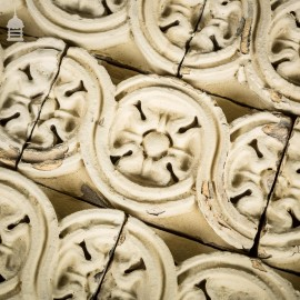 Batch of 39 19th C Decorative White Tudor Rose Design Bricks