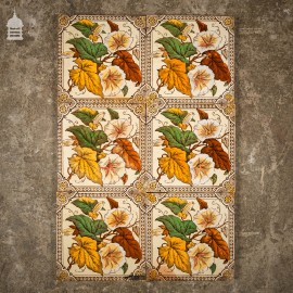 Set of 7 Decorative Floral 6 x 6 Tiles