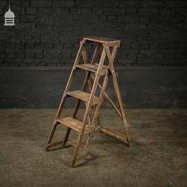 Vintage Pitch Pine Folding A-Steps Step Ladder