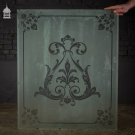 Original Etched Frosted Glass Panel with Decorative Design