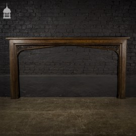 19th C Mock Tudor Carved Oak Fire Place Surround