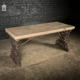 Cast Iron Garden Table Base from Camden Market with Worn Grit Stone Top