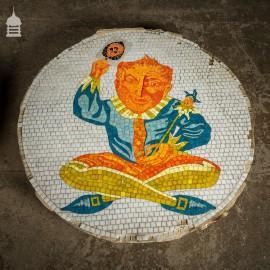 Pair of Circular Floor Mosaics with Colourful Joker Designs