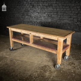 Large Vintage Pine Herbert & Sons LTD Butchers Table With Later Metal Shelves and Castors