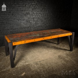 Large NARC Studio 'Paint Shop' Dexion Table With Charred Oak Legs