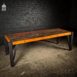 Large NARC Studio 'Paint Shop' Dexion Table With Charred Oak Legs