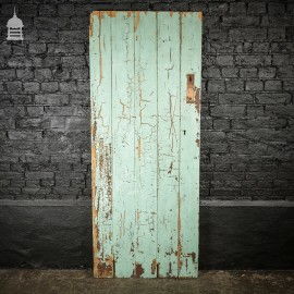 19th C Distressed Blue Painted Braced an and Ledged Pine Internal Cottage Door