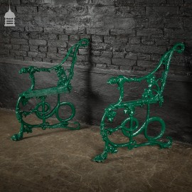 Pair of Green Coalbrookdale Design Cast Iron Bench Ends with Hound and Serpent
