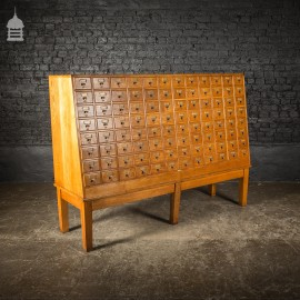 Mid Century Oak Libraco London 96 Drawer Pharmacy Index Card Filing Cabinet with Brass Finger Pulls