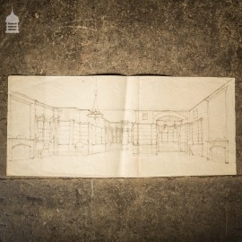 Original Edwardian Hand Drawn Sketch of a Stately Home Grand Drawing Room