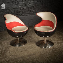 Pair of 60's Retro Italian Design Red and White Leather Swivel Chairs