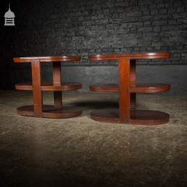 Pair of Art Deco Three Tier Teak Side Tables