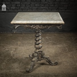 Exquisite 19th C Carved Hardwood Occasional Table with Twist Pedestal and Marble Top