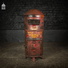 19th C Red and Black Painted Iron Post Box from Southern India