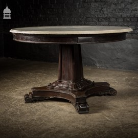 Late 19th C Ebonised Neo Classical Circular Marble Topped Table