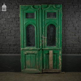 19th C Painted Continental Glazed Double Doors