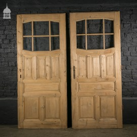 Pair of Reclaimed Glazed Pine Panel Doors