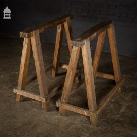 Pair Workshop Industrial Hardwood Trestles