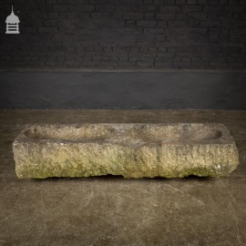 Large 18th C Double Carved Stone Trough Planter