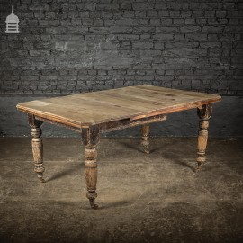 19th C Mahogany Kitchen Table with Bleached Top and Ceramic Castors
