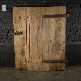 19th C Elm 3 Plank Ledged and Braced Barn Door