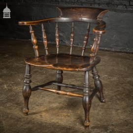 19th C Captains Bow Seat Smokers Chair with Turned Arm Supports and Double H Stretcher