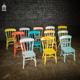 Set of 12 Victorian Elm Children's Chapel Chairs Painted in Various Colours
