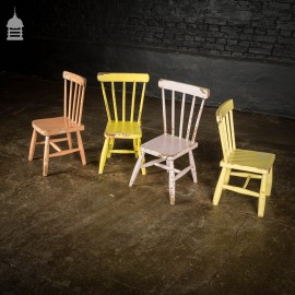 Set of 4 Elm Victorian Children's Chapel Chairs Painted in Various Colours