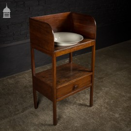 Georgian Flame Mahogany Wash Stand with Bowl and Drawer